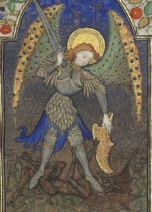 St. Michael and the Devil. Bibliothèque nationale de France, Département des manuscrits, Latin 1156B, detail of f. 165r. Book of Hours, use of Rome (15th century)