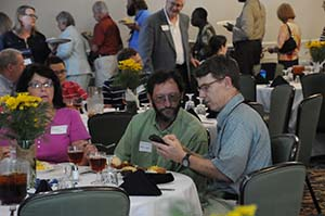 Alumni and friends get an opportunity to reconnect during the Reinhardt dinner.