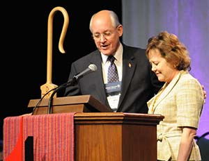 Bishop B. Michael Watson led the conference in prayer for Reinhardt President Dr. Kina S. Mallard and her leadership of Reinhardt University.
