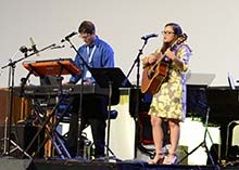 Keren Morales, an upcoming sophomore and Common Ground worship leader at Reinhardt, was a part of the worship band for Annual Conference.