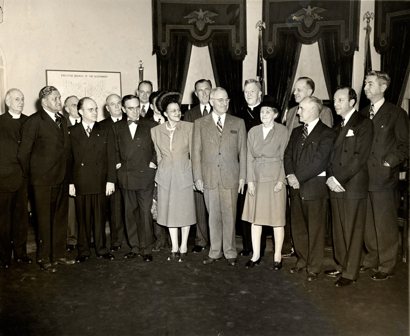 Dorothy Rogers Tilly '99 (front, third from the right) stands with President Harry S. Truman and the Committee on Civil Rights, to which she was appointed in 1946. Tilly later founded the Fellowship of the Concerned, a biracial group dedicated to education and social action as a means of overcoming prejudice. © 1947 The Associated Press
